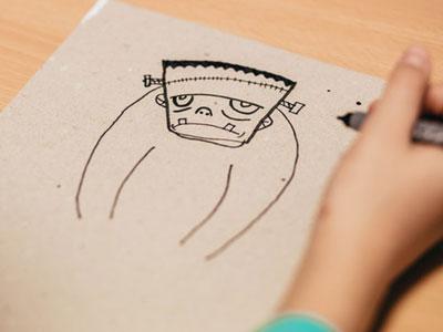 Student drawing of Frankenstein's monster
